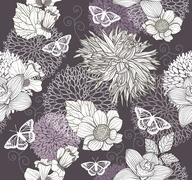 seamless pattern with flowers and butterfly. floral background. - stock illustration