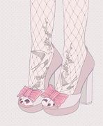 Fashion illustration.background with high heels shoes. tights with birds and Stock Illustration