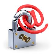 e-mail and padlock - stock illustration