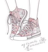 Shoes with floral pattern. background with fashionable sneakers. cute birthda Stock Illustration