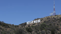 Aerial View of Entertainment Symbol Holywood Sign Los Angeles Hills LA USA Sunny Stock Footage