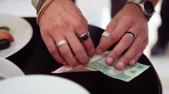 Magic tricks with money Stock Footage