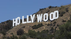 Hollywood Sign Mount Lee Hills Los Angeles Entertainment Worldwide Symbol Day Stock Footage