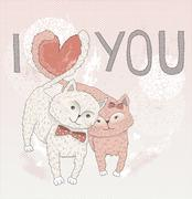 Valentine's day card. cute cats in love. cats with heart shape tails. postcar Stock Illustration