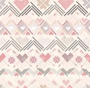 abstract geometric seamless pattern. aztec style pattern with hearts. - stock illustration