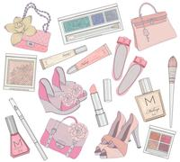 women shoes, makeup and bags element set. cosmetic product, footwear, purses - stock illustration