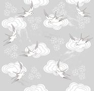 cute seamless swallow and cloud pattern - stock illustration