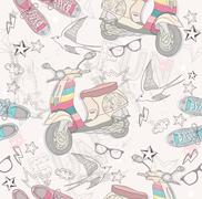 cute grunge abstract pattern. seamless pattern with shoes, retro scooter, gla - stock illustration