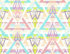 Abstract geometric seamless aztec pattern. colorful ikat style pattern. Stock Illustration