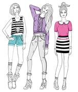 young fashion girls illustration. vector illustration. background with teen f - stock illustration