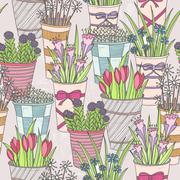 Cute seamless floral pattern. pattern with flowers in buckets. Stock Illustration