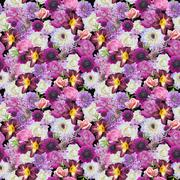Abstracts seamless floral pattern. background from various flowers Stock Illustration