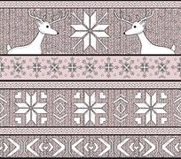 Hand drawn seamless knitted background in fair isle style with deers and snow Stock Illustration