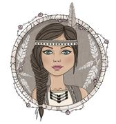 Cute native american girl and feathers frame. Stock Illustration