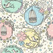 Seamless pattern with birdcages, flowers and birds. Stock Illustration