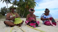 Polynesian woman artwork  in Aitutaki Lagoon Cook Islands - stock footage