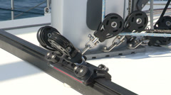 Detail of pulley on sailing boat Stock Footage