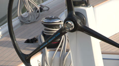 Rudder of a sailing boat - stock footage
