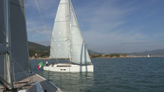 Sailing boat with open sails - stock footage