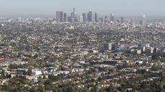 Los Angeles Aerial View Cityscape Office Towers Crowded Metropolitan Area US LA - stock footage