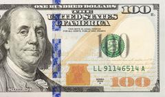 Front right half of the newly designed u.s. currency one hundred dollar bill. Stock Photos