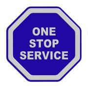 A single sign  one stop service on a blue background Stock Illustration