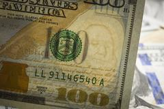Close up of the watermark on the new u.s. one hundred dollar bill. Stock Photos