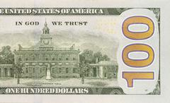 Back right half of the newly designed u.s. currency one hundred dollar bill. Stock Photos