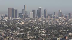 Skyline Aerial View Downtown Los Angeles Modern Landmark Buildings Skyscraper LA Stock Footage