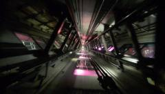 Elevator In motion up and down inside elevator shaft Stock Footage