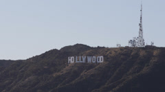 Hollywood Sign Los Angeles Hills Valley Broadcast Television TV Radio Antenna Stock Footage