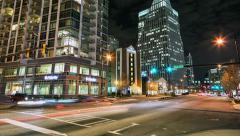 Time Lapse of City Street Traffic at Night - stock footage