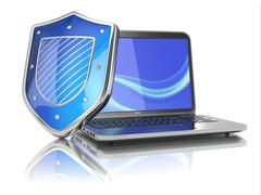 Internet security concept. laptop and shield. Stock Illustration