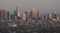 Sunset Light Los Angeles Aerial View Cityscape Office Towers Crowded Downtown LA Footage