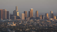 Sunset Light Los Angeles Aerial View Cityscape Office Towers Crowded Downtown LA Stock Footage