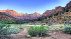 An Autumn Scene from Zion National Park Stock Footage