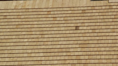 522 cedar wooden shingles roof roofing roofworking carpenty newly built house Stock Footage