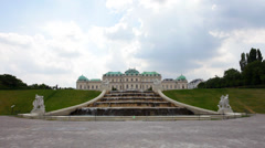Cascade fountain in The Belvedere complex in cloudy day Stock Footage