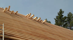 524 piled cedar wooden shingles roof roofing roofworking carpenty Stock Footage