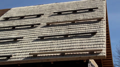 526 newly cedar wooden shingles shakes roof roofing roofworking carpenty Stock Footage