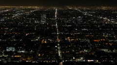 Night Evening Normandie Avenue US Route 101 Hollywood Freeway Aerial View Street Stock Footage