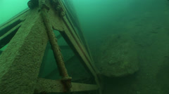 Underwater iron in fresh water Stock Footage