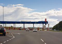 european road toll gate - stock photo
