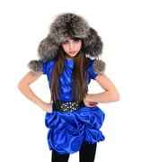 Young lady in fur hat standing, hands put on hips Stock Photos