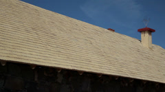 533 whole side cedar wooden shingles shake roof roofing roofwork carpenty Stock Footage