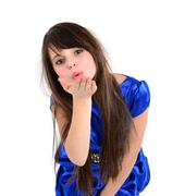 nice girl dressed in blue wending kiss to someone - stock photo