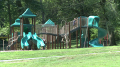 Large jungle gym at park Stock Footage