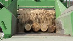 Big log shredder green saw dust machine working Stock Footage