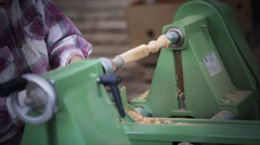 Woodworking on lathe Stock Footage