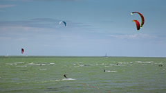 Kite surfing on baltic sea Stock Footage